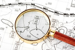 Magnifier with weather map Royalty Free Stock Photos