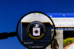 Magnifier on web page of CIA, Central Intelligence Agency. Royalty Free Stock Photos