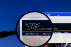 Magnifier on web page of FBI, Federal Bureau of Investigation. Royalty Free Stock Photo