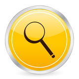 Magnifier yellow circle icon Stock Photography
