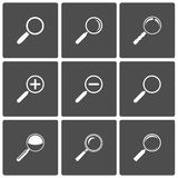 Magnifier and Zoom Icons. Vector Magnifier Glass and Zoom Icons: search find lupe Royalty Free Stock Images