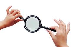 magnifiers δύο χεριών Στοκ φωτογραφίες με δικαίωμα ελεύθερης χρήσης