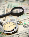 Magnifiers and watch. On money Royalty Free Stock Photography