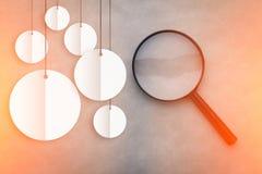 Magnifiez le verre avec la bannière blanche ronde avec l'espace de copie jpg Images libres de droits