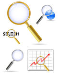 Magnifing glass. Vector set of golden magnifing glass Stock Images