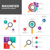 Magniflying glass Infographic elements presentation templates Abstract flat design set for brochure flyer leaflet marketing. Magnifier presentation templates Stock Image