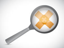 Magnify band aid fix solution concept Royalty Free Stock Photos