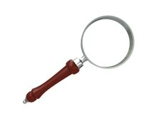 MAGNIFY GLASS. Over white,wooden handel ,steel Stock Photos