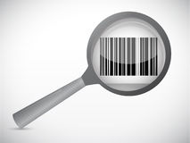 Magnify glass and barcode ups. illustration Stock Photos