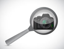 Magnify glass and camera illustration design Stock Photography