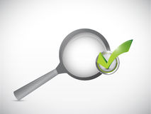 Magnify glass and check mark approval Royalty Free Stock Image