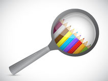 Magnify glass and colors inside. illustration Stock Image
