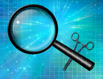 Magnify glass and forceps Royalty Free Stock Images