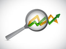 Magnify glass over an arrow graph isolated. Illustration design Royalty Free Stock Images