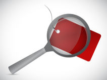 Magnify glass over a tag illustration design Royalty Free Stock Photos