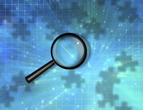Magnify Glass Puzzle Background Stock Photo