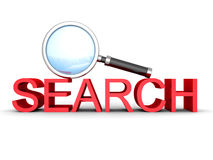 Magnify Glass And Red Concept SEARCH Word Stock Images