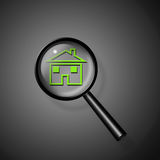 Magnify Glass Reveals Home Stock Images