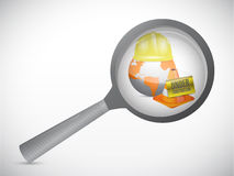 Magnify glass under construction illustration Royalty Free Stock Images