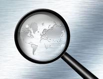 Magnify Glass World Stock Photo