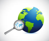 Magnify international world map illustration Royalty Free Stock Photos