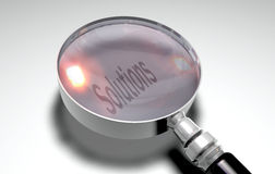 Magnify Lens. 3d render magnify lens with solution text Stock Photos