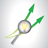Magnify light bulb and arrows. illustration design Stock Photo