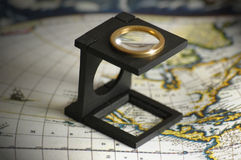 Magnify in Map Royalty Free Stock Images