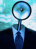 Magnify Mind. Magnify glass and suit with eye Stock Photo