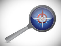 Magnify over a compass illustration design Stock Photo