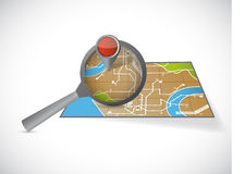 Magnify over a map illustration design. Over a white background Royalty Free Stock Image
