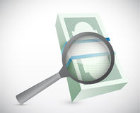Magnify and search for money. illustration Royalty Free Stock Images