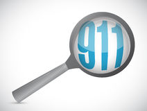 911 magnify sign concept illustration. Design over white Royalty Free Stock Photo