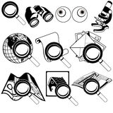 Magnifying black icons Royalty Free Stock Photo