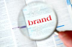Magnifying brand word Stock Image
