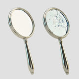 Magnifying broken glass isolated on gray Stock Photography