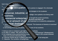 Magnifying Business. Definition of Business magnified with a magnifying glass Royalty Free Illustration