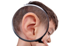 Magnifying ear Royalty Free Stock Photography
