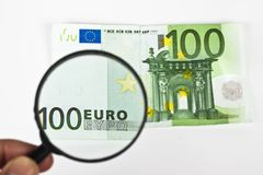 Magnifying euro Royalty Free Stock Photography