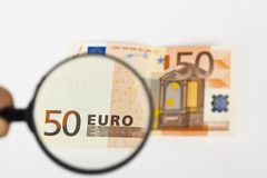 Magnifying fifty euro Royalty Free Stock Photos