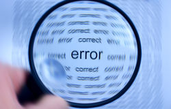 Magnifying or focusing on word error concept Stock Photography