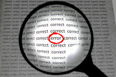 Magnifying or focusing on word error concept Stock Images