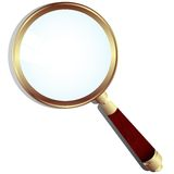 Magnifying glass. Golden Magnifying glass with wood handle and shadow Stock Photography