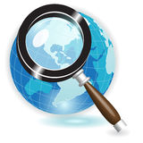 Magnifying glass. Illustration, blue globe under magnifying glass on white background Stock Photos