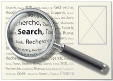 Magnifying Glass. Search word on different languages. Vector Illustration Royalty Free Stock Images