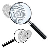 Magnifying glass. And observing a fingerprint Stock Photo