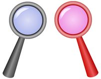 Magnifying glass. Two magnifying glasses  illustration Stock Image