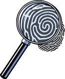 Magnifying glass. A magnifying glass is checking out a fingerprint Stock Images