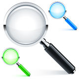 Magnifying glass. Three magnifying glass with color lens and handle Stock Photos