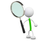 Magnifying glass. 3d render illustration.Holding a magnifying glass Stock Photos